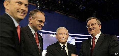 Polish presidential candidates, from left, Grzegorz Napieralski from the Democratic Left Alliance, Waldemar Pawlak from the Polish Peasant Party, Jaroslaw Kaczynski from the Law and Justice party and Bronislaw Komorowski, Parliament Speaker and acting president
