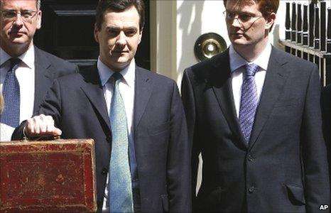 Chancellor George Osborne holds his Budget Box, with Chief Secretary to the Treasury Danny Alexander outside 11 Downing Street