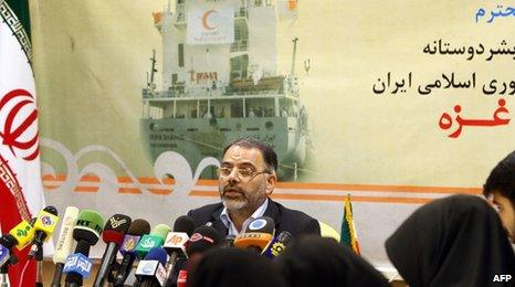 Iranian Red Crescent official Abdul Rauf Adibzadeh announces plans to send an aid ship to Gaza, 22 June