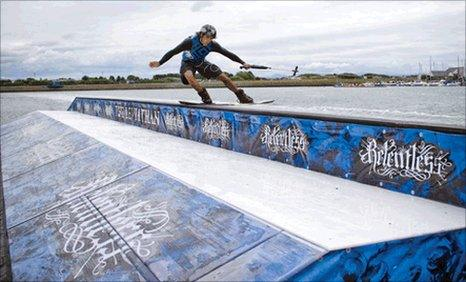 Jonty Green tackles the wakeboarding obstacle known as the Relentless Leviathan at Wakestock