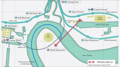 TfL cable car route map