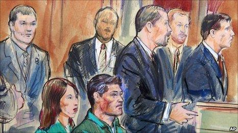 Members of the spy ring in court in Alexandria, Virginia on 2 July 2010