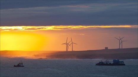 Platform towed into place off the Caithness coast. Pic: DSRL
