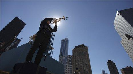 An honour guard plays the trumpet at the site of Ground Zero in New York September 11 2010