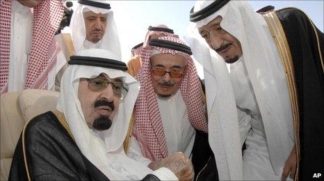 Saudi King Abdullah (left), Prince Salman bin Abdul Aziz (right) and other Saudi officials in Riyadh. Photo: 22 November 2010