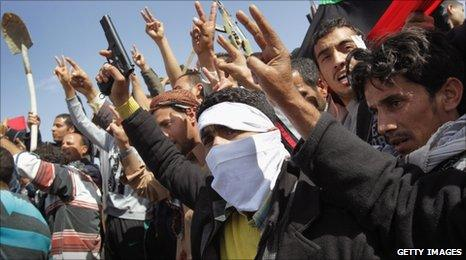 Rebels and their supporters in Ajdabiya, eastern Libya, on 3 March 2011