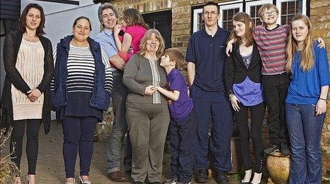 (Left to right) Justine, Lisa, Jim, Maisie, Sue, Lewis, Chris, Devon, Cal, Courteney