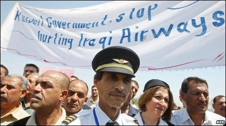 Iraqi Airways staff protest at the treatment of Kifah Jabar Hassan, 5 May