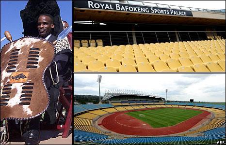 King Lerou Tshekedi Moletlegi (left) Royal Bafokeng Stadium (right)