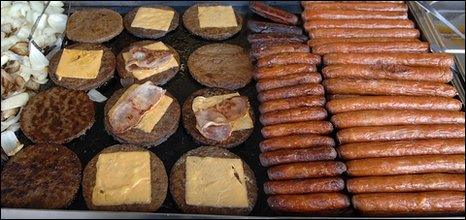 Burgers and sausages (BBC)