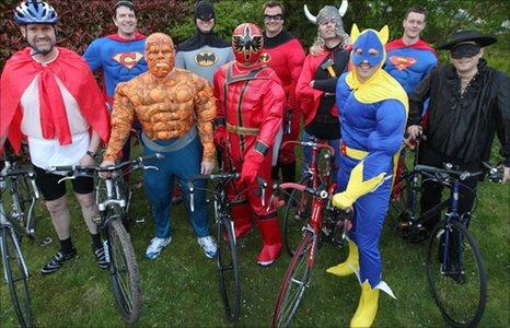Enders in superhero costumes