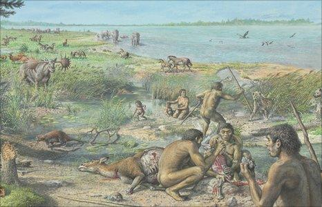 Artist's impression of early humans