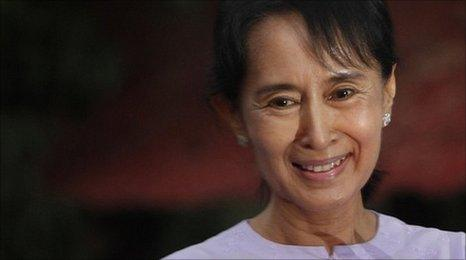 Aung San Suu Kyi being released from her home in Rangoon