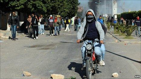 Demonstrators in Regueb, near Sidi Bouzid, Tunisia