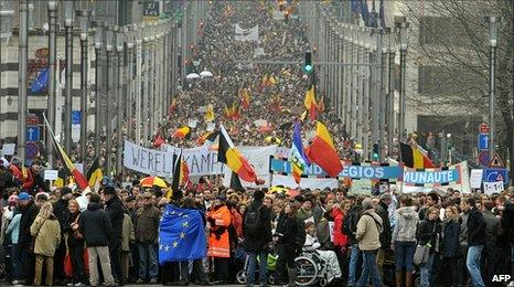 Belgian march for unity in Brussels, 23 January 2011