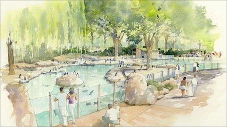 An artist's impression of London Zoo's new penguin pool