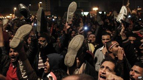 Protesters in Tahrir Square, Cairo, Egypt, 10 February 2011