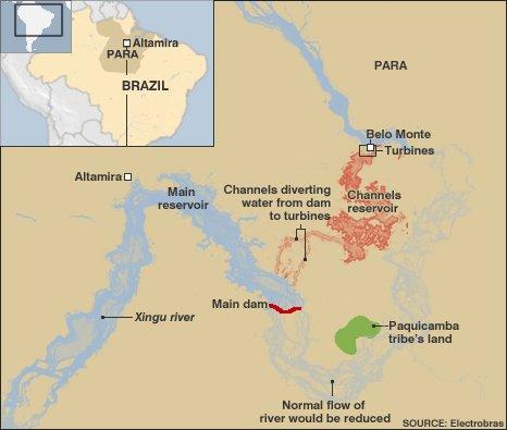 Map showing Belo Monte dam proposals