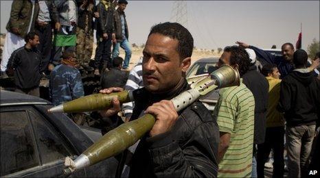 A Libyan rebel in Ajdabiya on 26 March 2011