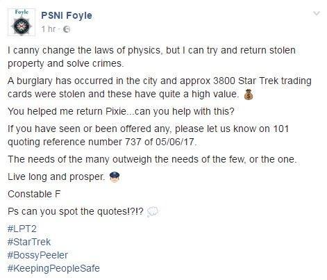 PSNI Facebook post
