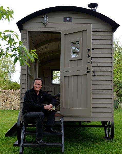 David Cameron in his shepherd's hut