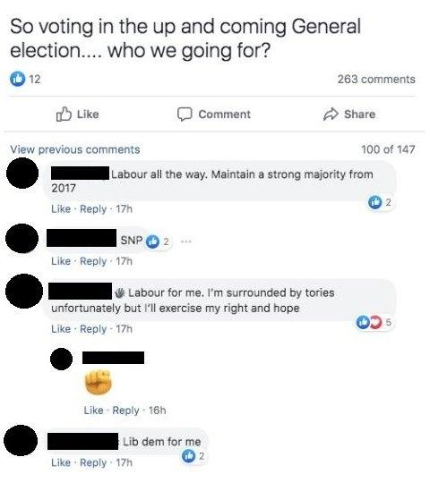 Some posts advocating Labour, SNP and the Lib Dems