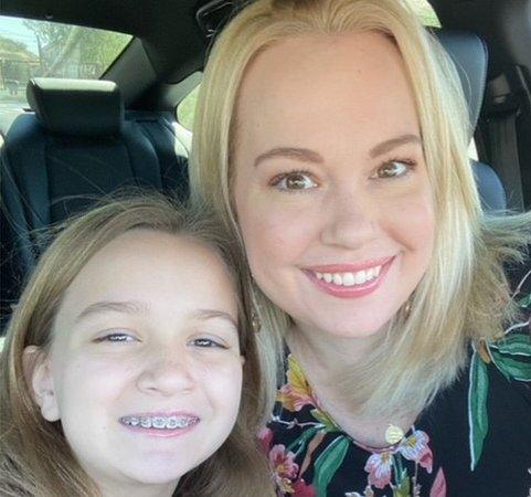 Chloe Clem, now 10, and her mother Katie