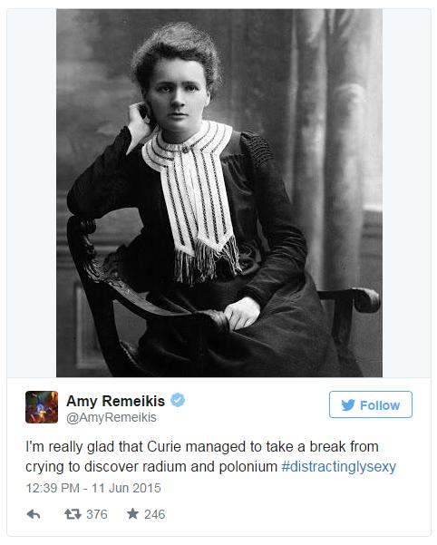 Another common theme was notable female scientists, such as Marie Curie, the first female Nobel Prize winner
