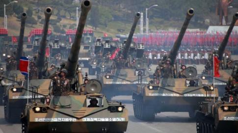 Tanks at a military parade in Pyongyang