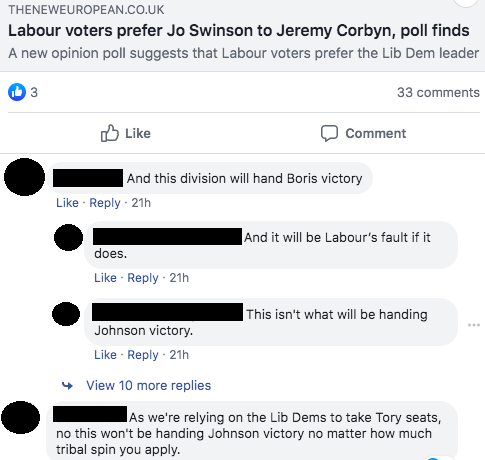 'this division will hand Boris's victory'... 'and it will be Labour's fault if it does'