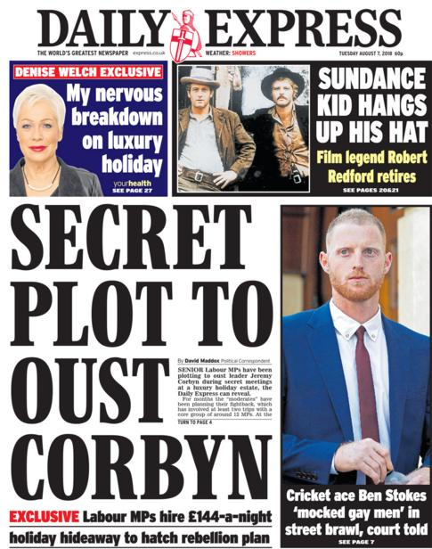 Daily Express front page - 07/08/18