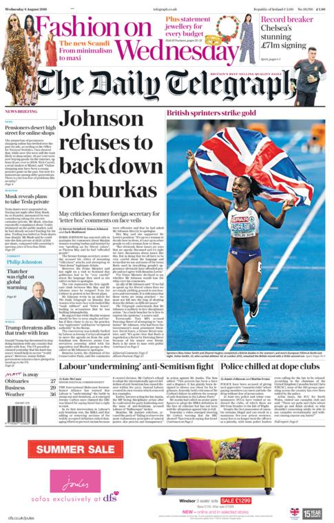 Daily Telegraph front page - 08/08/18