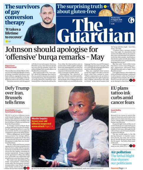 Guardian front page - 08/08/18