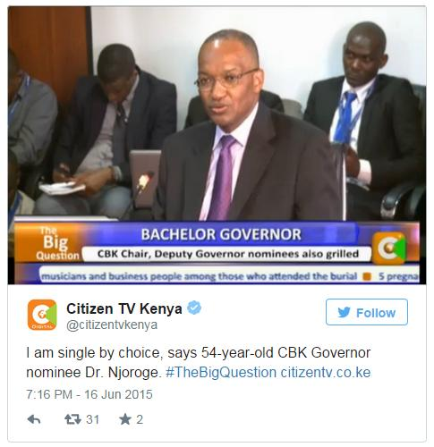 When lawmakers asked Patrick Njoroge about his marital status, Kenyans erupted online