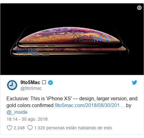 Publicación de Twitter por @9to5mac: Exclusive  This is 'iPhone XS' — design, larger version, and gold colors confirmed  by @_inside
