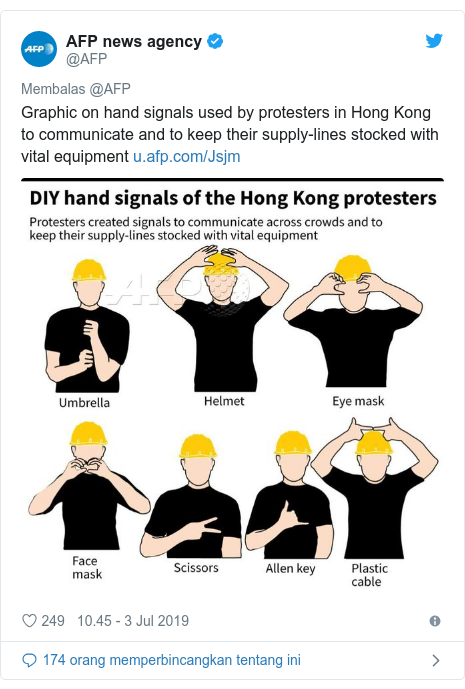 Twitter pesan oleh @AFP: Graphic on hand signals used by protesters in Hong Kong to communicate and to keep their supply-lines stocked with vital equipment