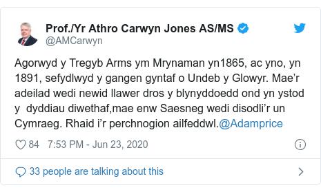 Twitter post by @AMCarwyn: Agorwyd y Tregyb Arms ym Mrynaman yn1865, ac yno, yn 1891, sefydlwyd y gangen gyntaf o Undeb y Glowyr. Mae'r adeilad wedi newid llawer dros y blynyddoedd ond yn ystod y  dyddiau diwethaf,mae enw Saesneg wedi disodli'r un Cymraeg. Rhaid i'r perchnogion ailfeddwl.@Adamprice