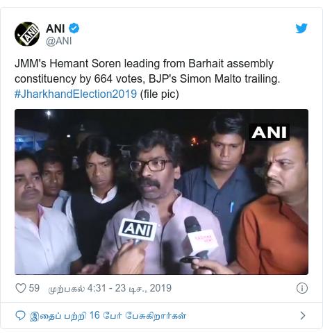டுவிட்டர் இவரது பதிவு @ANI: JMM's Hemant Soren leading from Barhait assembly constituency by 664 votes, BJP's Simon Malto trailing. #JharkhandElection2019 (file pic)