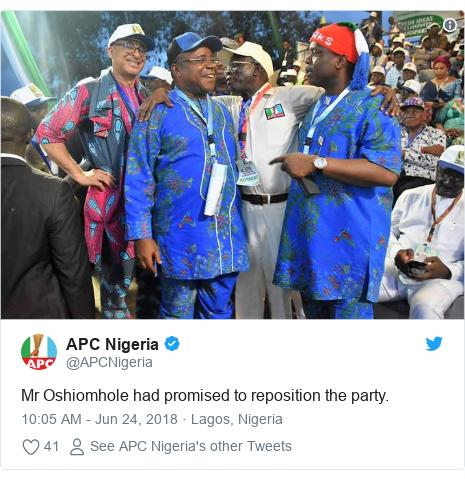Twitter wallafa daga @APCNigeria: Mr Oshiomhole had promised to reposition the party.