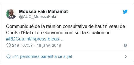 Twitter publication par @AUC_MoussaFaki: Communiqué de la réunion consultative de haut niveau de Chefs d'État et de Gouvernement sur la situation en #RDC