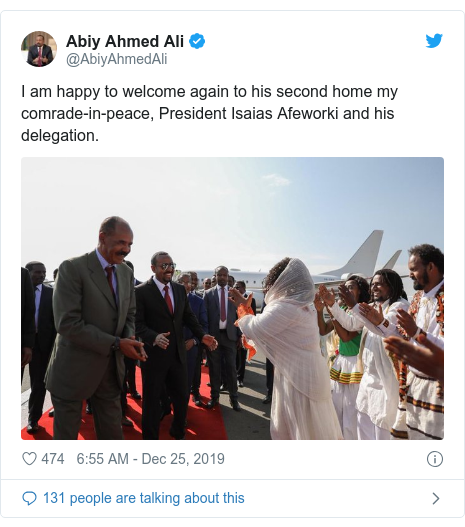 Twitter post by @AbiyAhmedAli: I am happy to welcome again to his second home my comrade-in-peace, President Isaias Afeworki and his delegation.