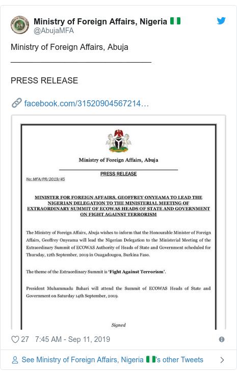 Ujumbe wa Twitter wa @AbujaMFA: Ministry of Foreign Affairs, Abuja_______________________________PRESS RELEASE🔗