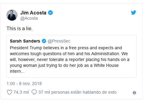 Publicación de Twitter por @Acosta: This is a lie.