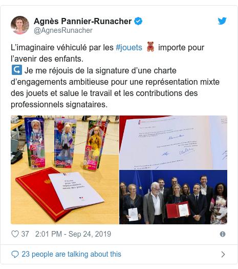 Publicación en Twitter de @AgnesRunacher: L'imaginaire véhiculé par les #jouets 🧸 import pour l'avenir des enfants.↪️ Je me réjouis de la firma d'une charte d'engagements ambitieuse pour une représentation mixte des jouets et salue le travail et les contribuciones de profesionales signataires.