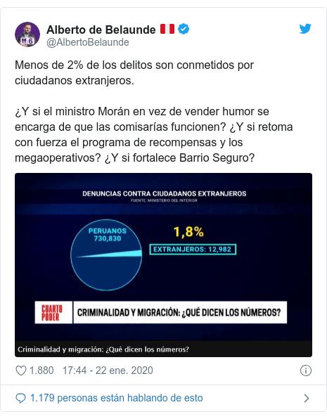 Publicación de Twitter por @AlbertoBelaunde: Menos de 2% de los delitos son conmetidos por ciudadanos extranjeros. ¿Y si el ministro Morán en vez de vender humor se encarga de que las comisarías funcionen? ¿Y si retoma con fuerza el programa de recompensas y los megaoperativos? ¿Y si fortalece Barrio Seguro?