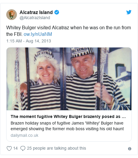 Twitter post by @AlcatrazIsland: Whitey Bulger visited Alcatraz when he was on the run from the FBI.