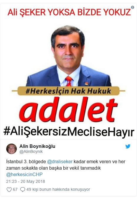 @AlinBoynik tarafından yapılan Twitter paylaşımı: İstanbul 3. bölgede @draliseker kadar emek veren ve her zaman sokakta olan başka bir vekil tanımadık @herkesicinCHP