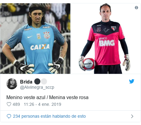 16f1febda9 Publicación de Twitter por  Alviinegra sccp  Menino veste azul   Menina  veste rosa