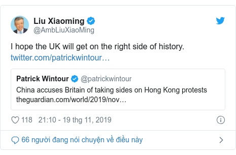 Twitter bởi @AmbLiuXiaoMing: I hope the UK will get on the right side of history.