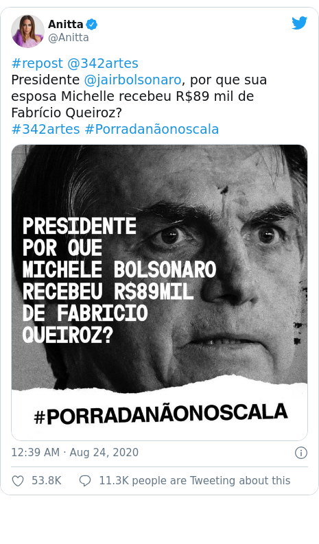 Twitter post by @Anitta: #repost @342artesPresidente @jairbolsonaro, por que sua esposa Michelle recebeu R$89 mil de Fabrício Queiroz?#342artes #Porradanãonoscala